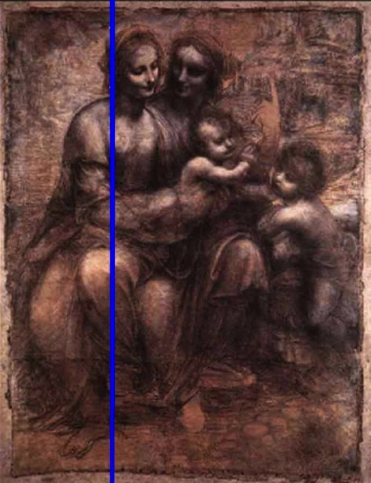 Этюд Леонардо да Винчи с линией, к которой надо прикладывать зеркало, чтобы увидеть лик Бога.