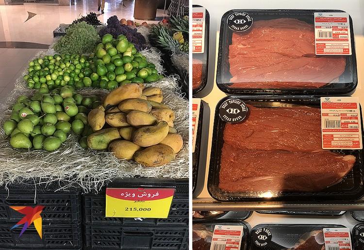 В супермаркетах полно продуктов. Килограмм суперспелого манго – 200 рублей. Говядина, как говорят россияне, работающее в Тегеране, сопоставима с московскими ценами