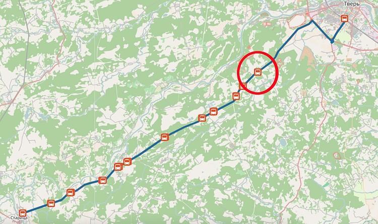 """Маршрут №540Т от г. Старица до Твери. Протяженность - около 75 километров. Село """"Некрасово"""" - в 14 км от Твери."""