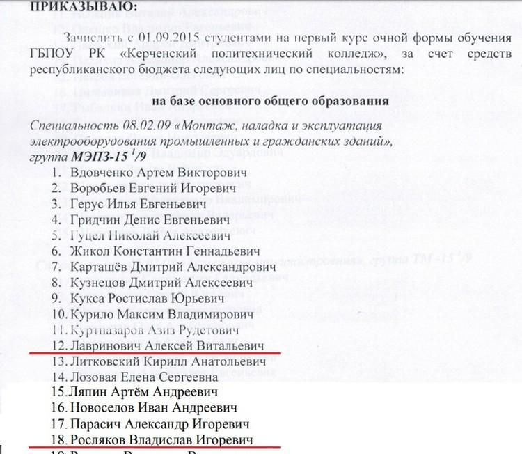 Фрагмент приказа о зачислении Алексея Лавриновича