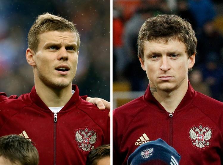 Александр Кокорин и Павел Мамаев в футболках сборной России.