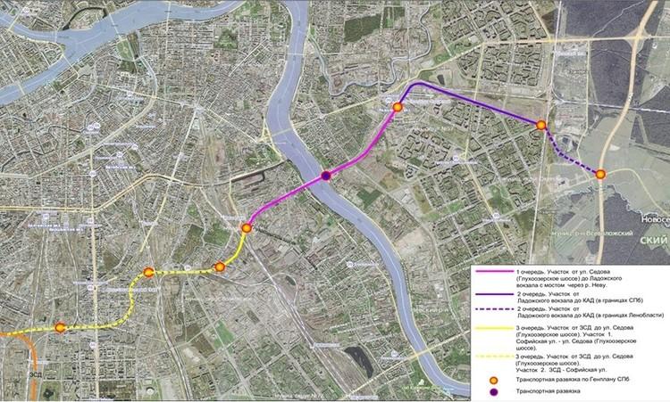 Ориентировочная схема ВСД. Фото: Комитет по развитию транспортной инфраструктуры Санкт-Петербурга