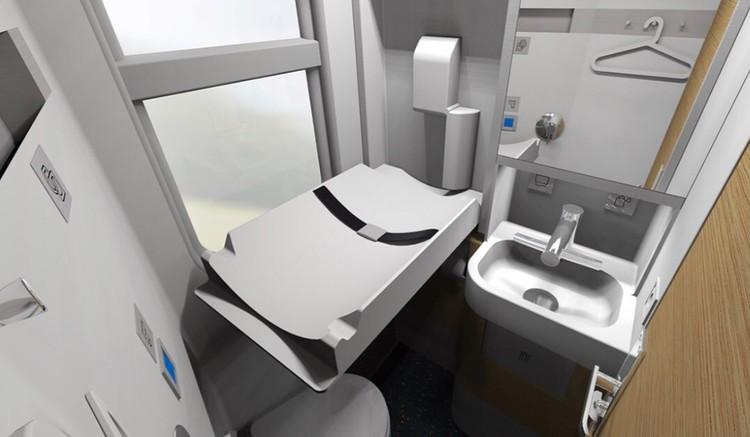 В туалетах новых вагонов разместятся гигиенические души, пеленальные столики, автоматические краны и даже встроенный фен