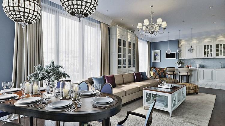 Столовую решили совместить с кухней и гостиной. Это самая большая комната в квартире - 48 кв. метров. ФОТО: estee-design.ru