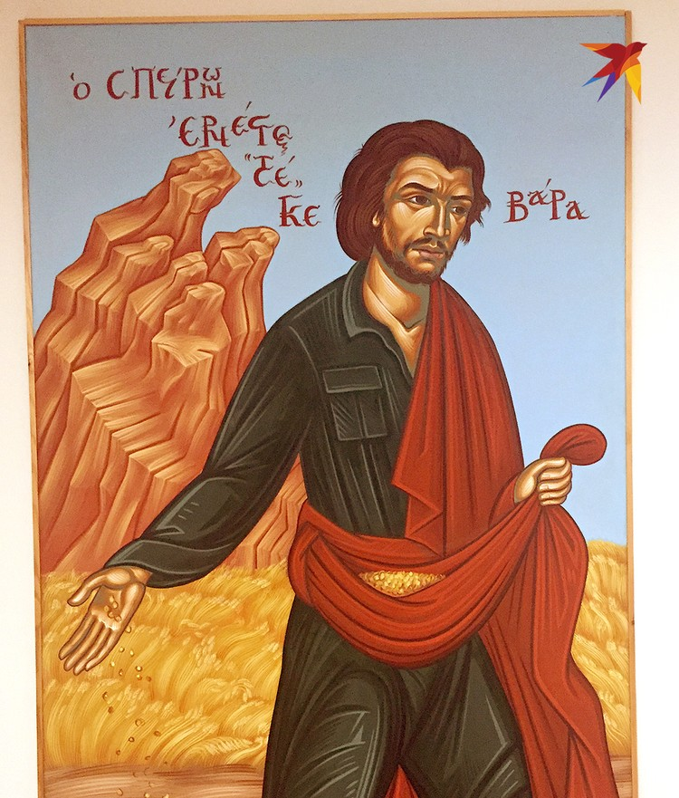В Греции часто рисуют революционера Че Геваре в виде библейского сеятеля.