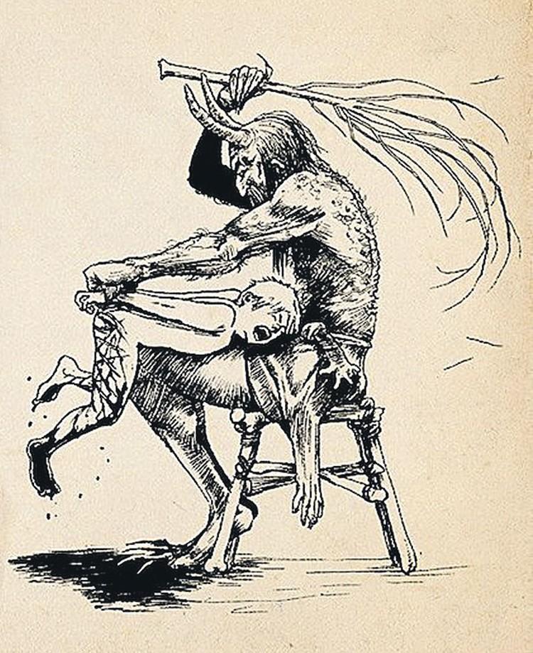 Из злого «рождественского козла» (слева) новогоднее божество превратилось в добродушного старика.