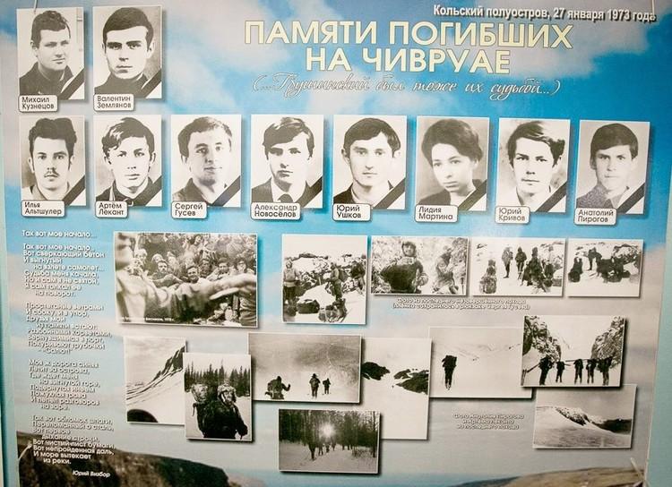 Стенд с фотографиями погибших.
