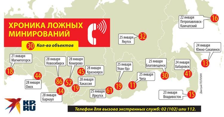 Хроника ложных минирований по России.