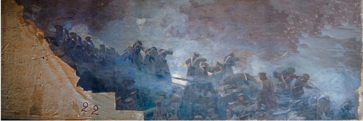 Полотна серьезно повреждены. Фото: пресс-служба музея-панорамы «Бородинская битва»