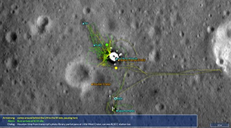 Следы астронавтов на месте посадки Аполлона-11.