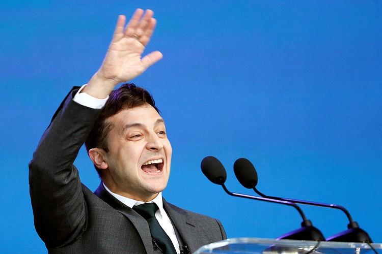 Владимир Зеленский во время дебатов.