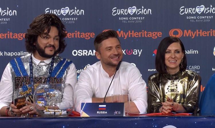 Сергей Лазарев и Филипп Киркоров на пресс-конференции после объявления итого второго полуфинала