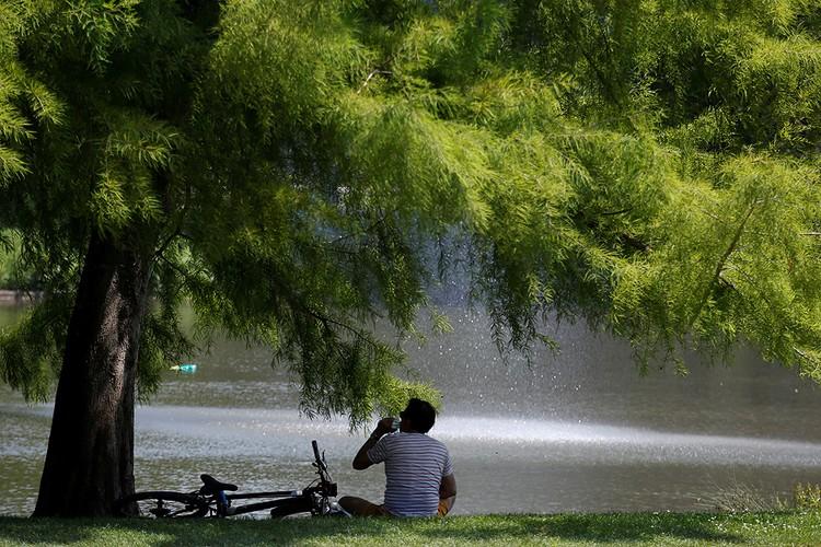 Жители европейских городов ищут укрытия от зноя в парках, не забывая пить побольше воды.