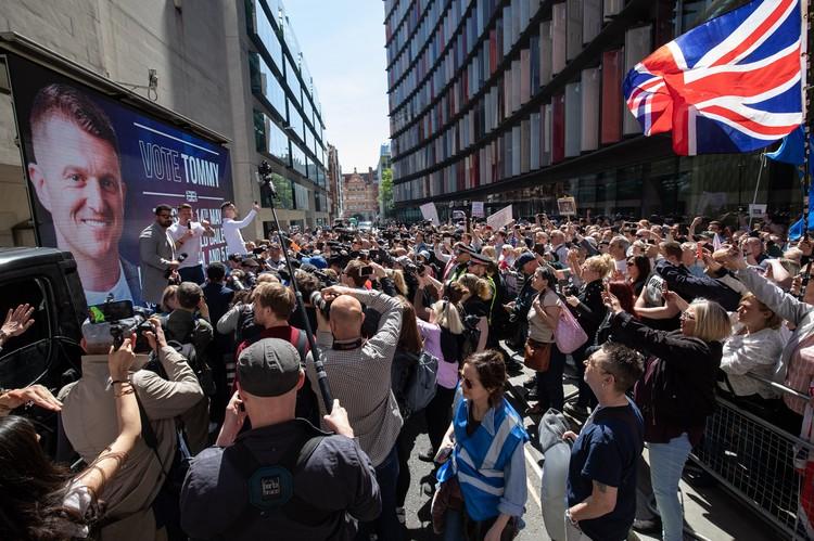 Митинг в Лондоне в поддержку Томми Робинсона, которого судят за нарушение запрета на видеосъёмку