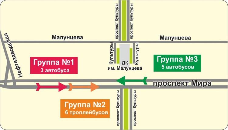 Схема следования автобусов от ДК Малунцева