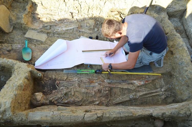 Археолог изучает захоронения воина. Фото: пресс-службы античного памятника «Фанагория».