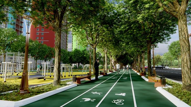 «Фишкой» жилого комплекса станет первый в городе зеленый бульвар. Фото предоставлено ООО «РКСК»