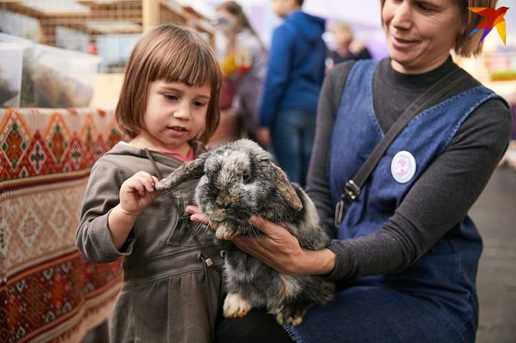 Дети с удовольствием фотографировались с кроликами.