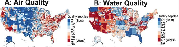 Карта распределения грязных и чистых мест в США.
