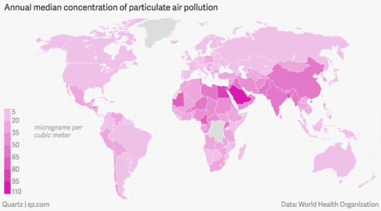 """Пыльная карта мира: чем """"светлее"""" страна, тем меньше твердых частиц в атмосфере над ней. Россия не самая пыльная страна, но пыль у нас все же есть."""