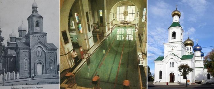 Свято-Николаевский собор в начале ХХ века, бассейн, организованный в ней после 1964-го, и восстановленный вид. Фото: Архив Алексея Ненадовца; сайт собора