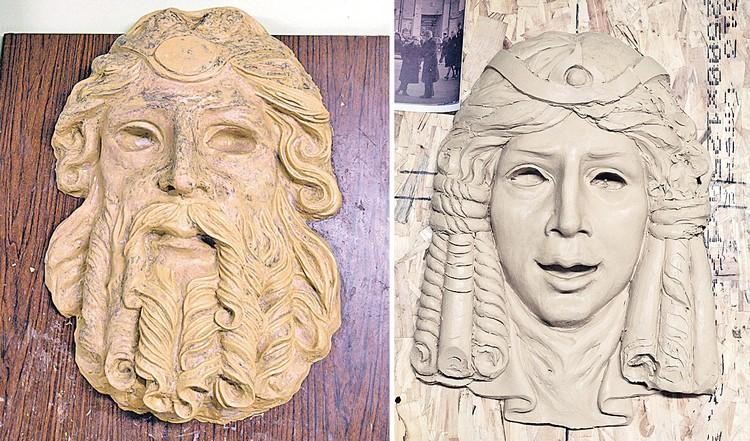 Реставраторы восстановили изображение с точностью до деталей. С женской маской сложнее, потому что изображение мутное. Предварительный слепок сделали (справа), но продолжают искать свидетельства, как она выглядела по задумке Шехтеля.