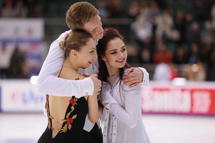 Евгения Медведева и чемпионы России в парном катании Александра Бойкова и Дмитрий Козловский.