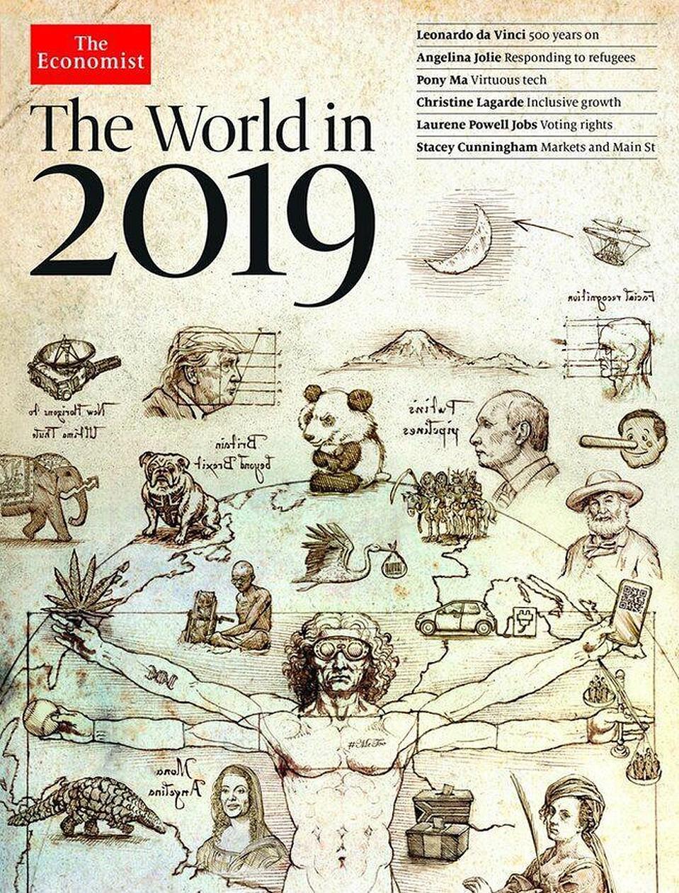Пророческая обложка журнала The Economist «Мир в 2019 году».