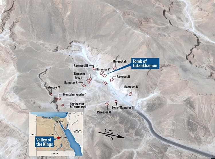 Место расположение гробницы Тутанхамона.