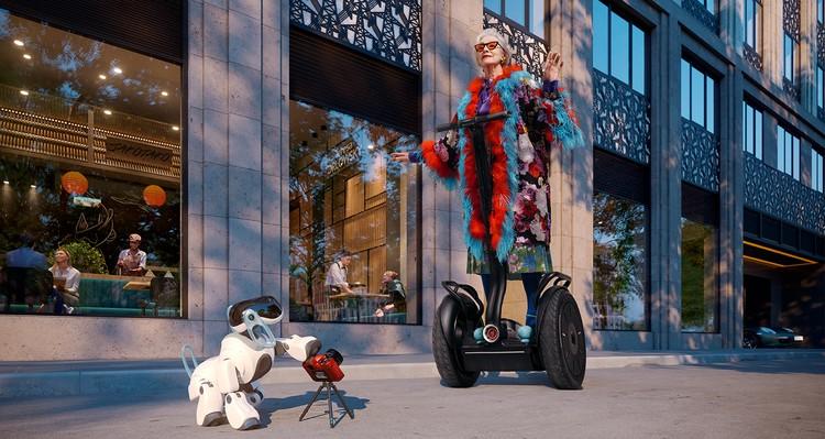 Галина Сокольская – профессиональная модель и искусствовед. По сюжету она путешествует по территории многофункционального комплекса «Искра-Парк» на сегвее, а фотографирует ее собственная робо-собака.