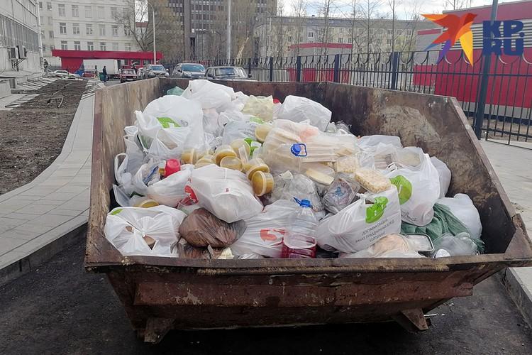 У входа в хостел около новой станции метро «Стахановская», перегородив проезжую часть, стоял огромный мусорный контейнер, доверху набитый едой