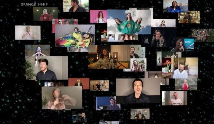 """Участники """"Евровидения"""" спели коллективно песню. Фото: стоп-кадр Первого канала."""