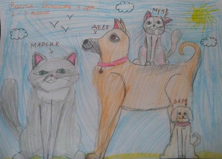 Кошки Марсик и Муня, и собаки Деля и Варя Насти Осмоловец.