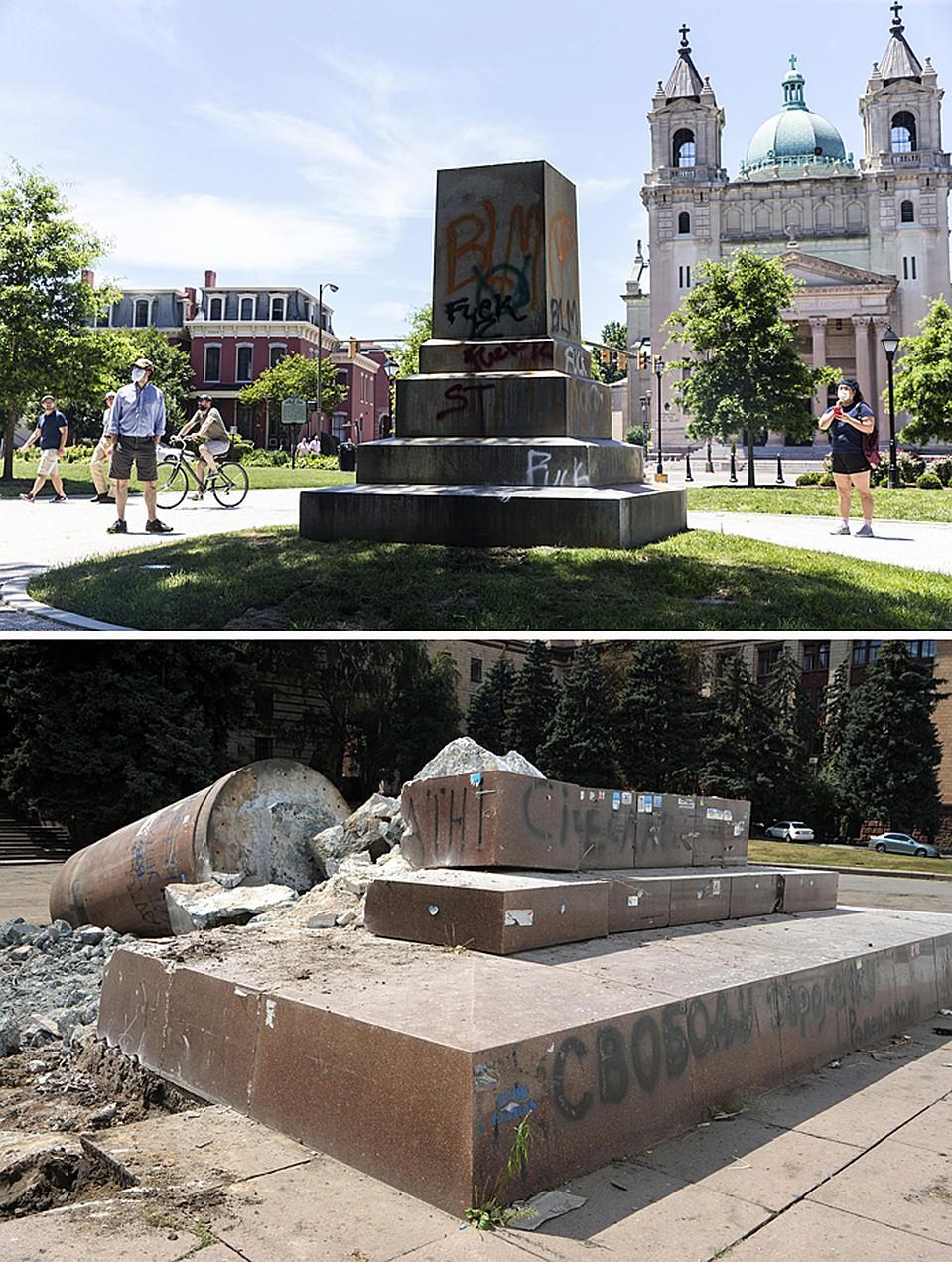 Фундамент статуи Конфедерации и остатки пямятника Ленину в Днепропетровске Фото: EAST NEWS