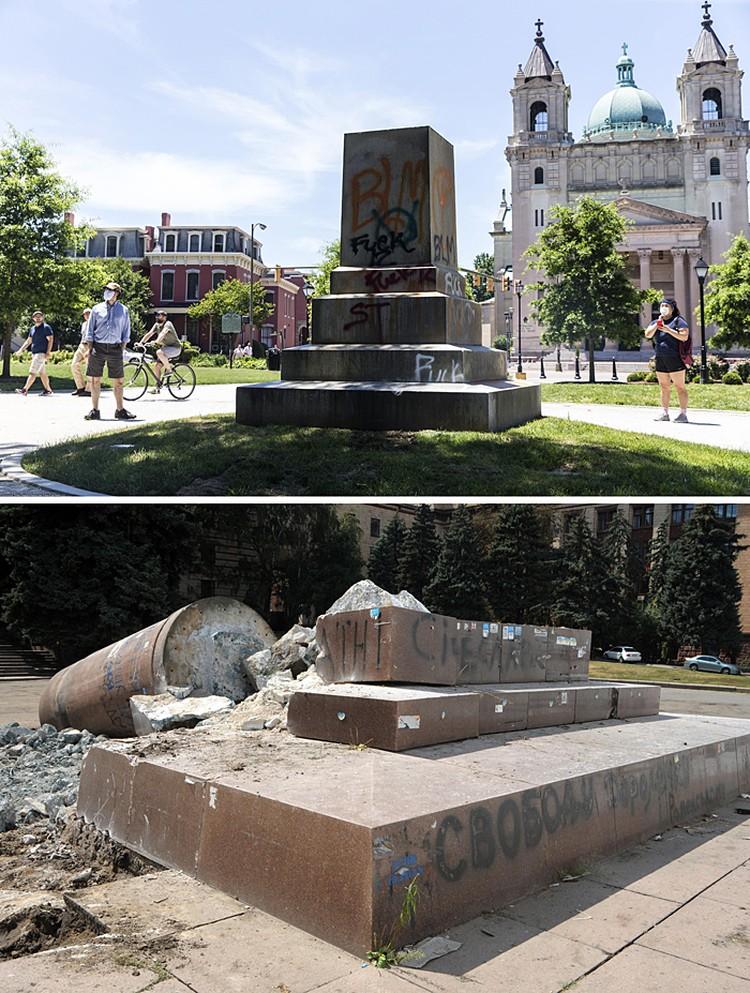 Фундамент статуи Конфедерации и остатки пямятника Ленину в Днепропетровске
