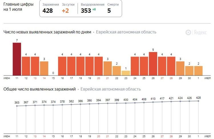 Статистика по коронавирусу в ЕАО ФОТО: скриншот Яндекс.Коронавирус