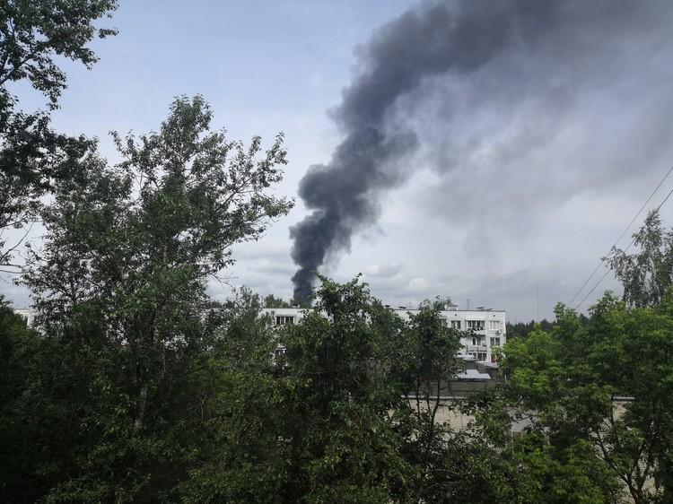 Столб дыма был виден издалека. Фото: Владимир Земсков