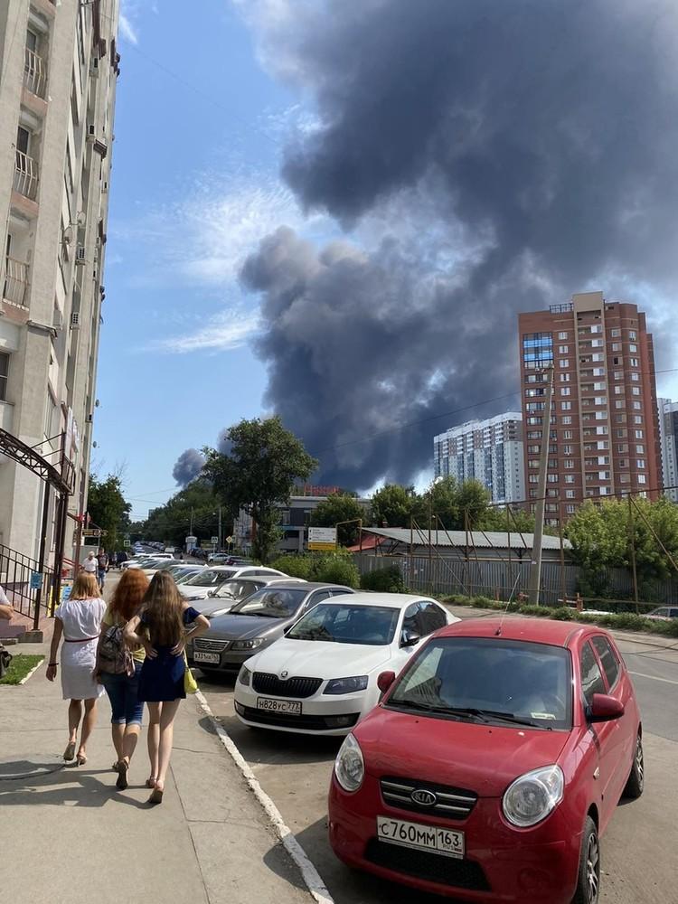 Дым виден во всем городе