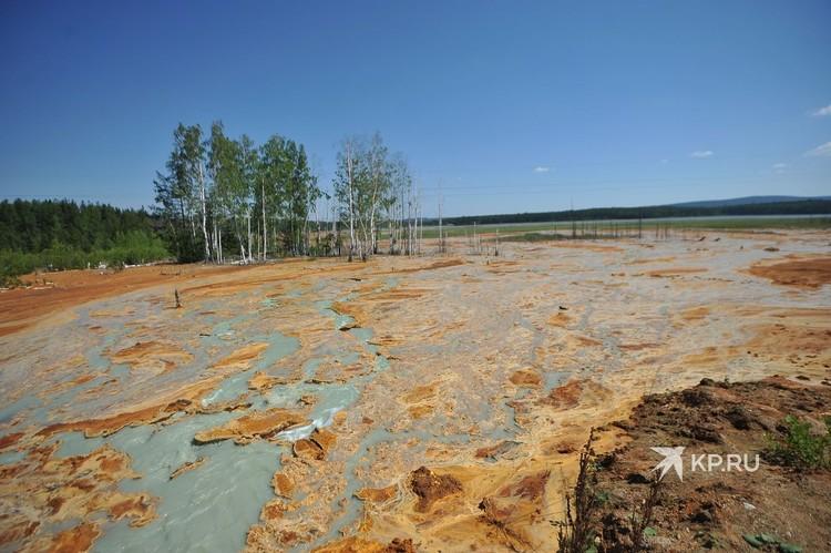 Так с земли выглядит то самое место с «кислотно-рыжим» пятном на пруду.