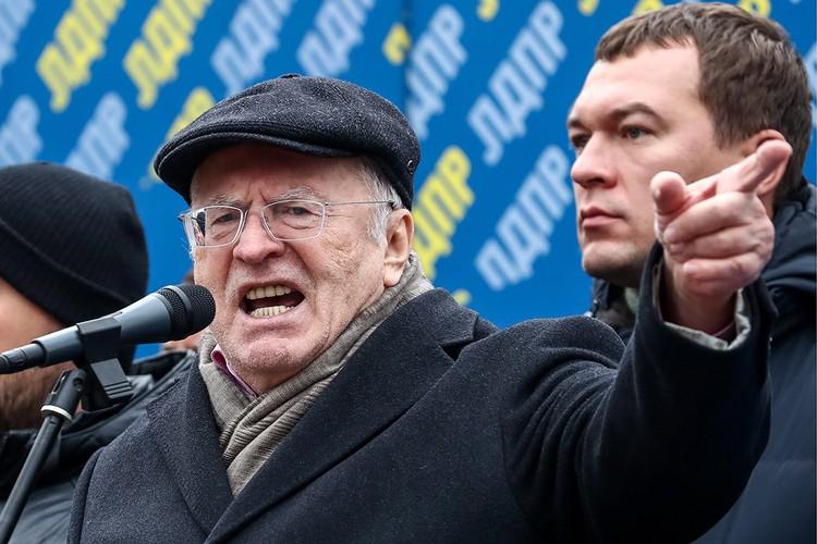 Владимир Жириновский и Михаил Дегтярев на митинге ЛДПР. Фото: Антон Новодережкин/ТАСС