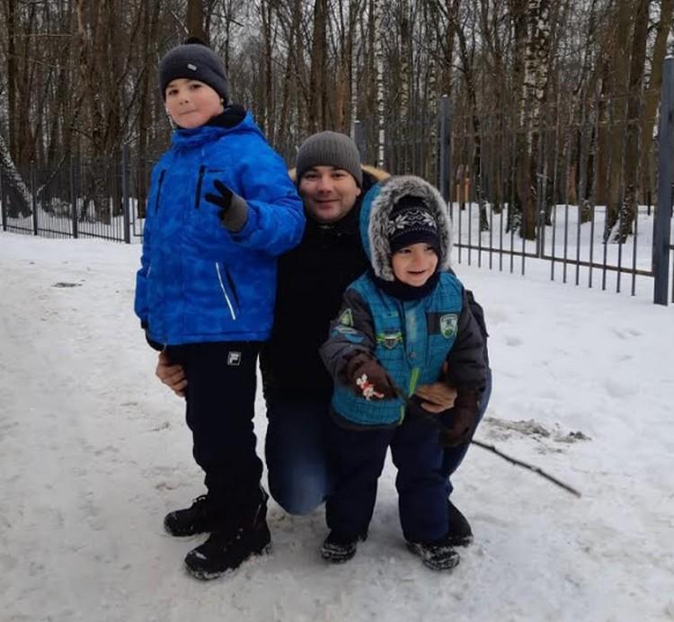 Андрей и Денис с папой