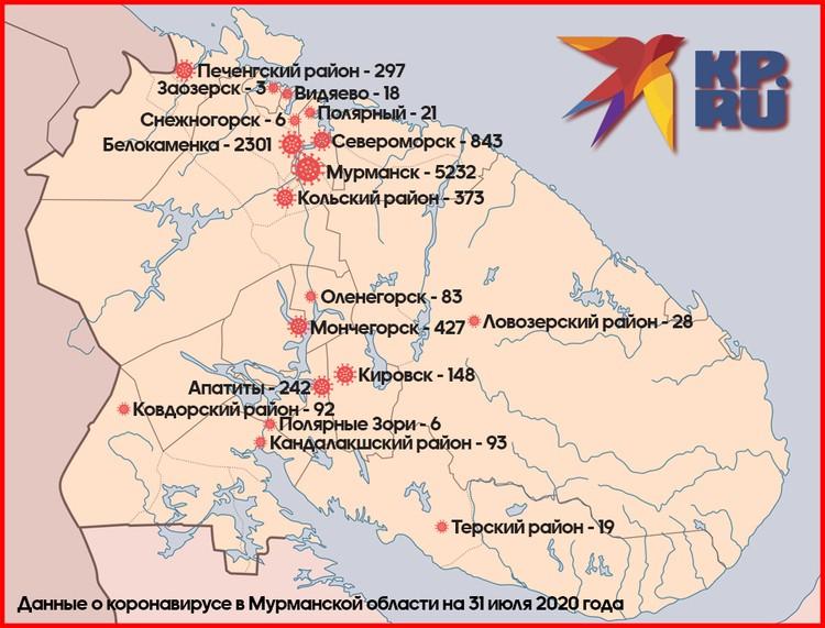 Распространение коронавируса по муниципалитетам в Мурманской области.