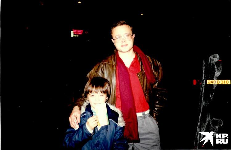 Александр Лебедев с сыном Евгением в Лондоне, 1990 г. Фото: из семейного архива семьи Лебедевых