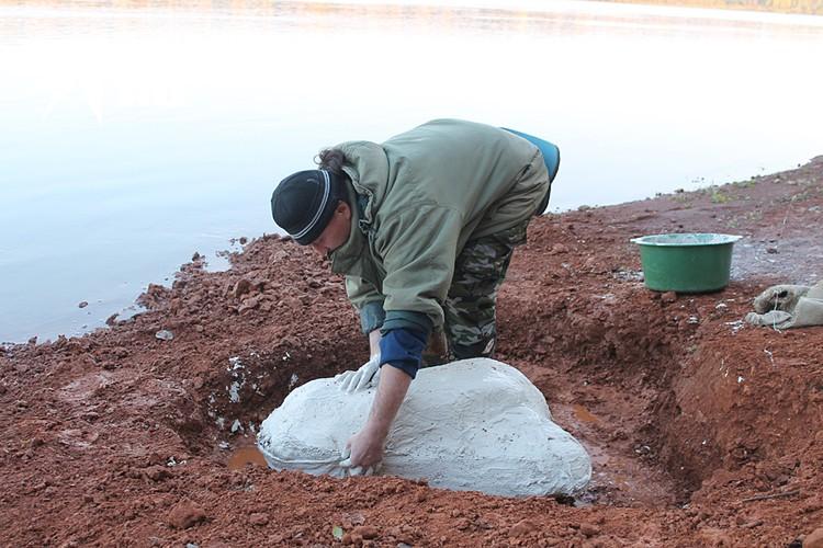 Палеонтолог гипсует найденные на берегу останки