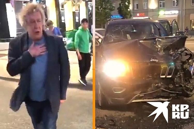 Михаил Ефремов и его внедорожник на месте аварии. Кадр из видео очевидца