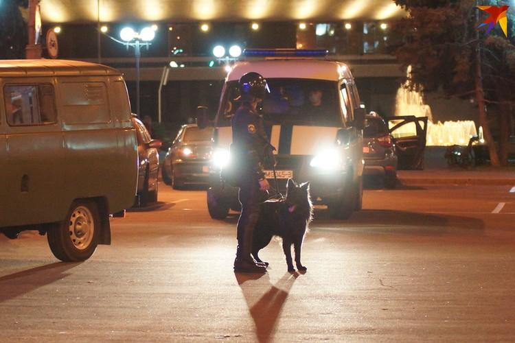 Силовики прибыли на разгон шествия с собакой