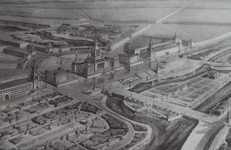 В конце 40-х в Калининграде планировалось возвести даже не Дом, а Дворец Советов. Эскизный проект планировки центральной части города.