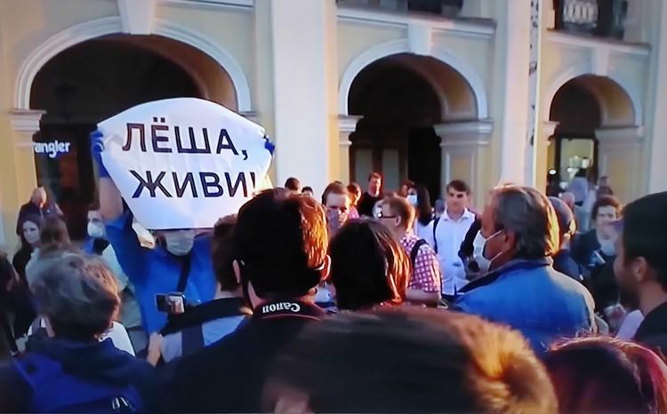 Сторонники Навального с плакатом.