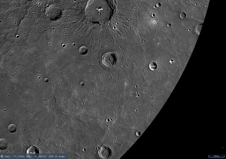 Кратер с квадратом на глобусе Меркурия.