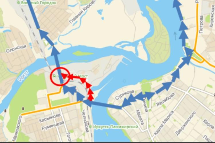 Красным показана схема объезда улицы Джамбула для автомобилей. Фото: администрация Иркутска.